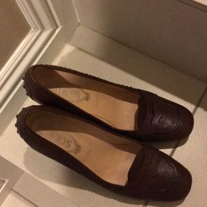 EUC Tod's stacked heels moccasin style